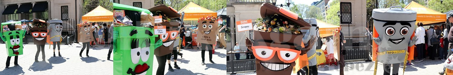 Costumed characters aim to raise awareness for recycling and composting